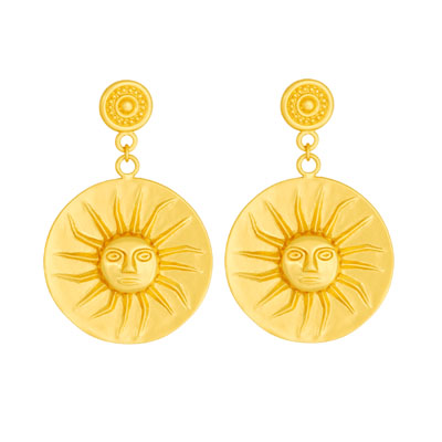 Aretes de colgar de sol - Precolumbian sun dangling earrings
