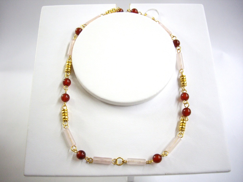 Collar de cuarzo rosado y agata - Rose quartz and agate necklace